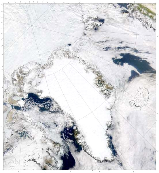 pokrywa lodowa na oceanie Arktycznym wokół Grenlandii
