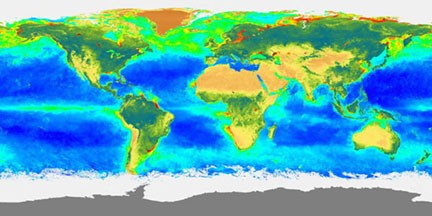 satellite image of phytoplankton bloom
